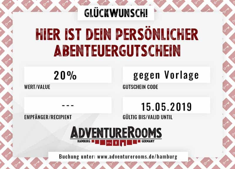Escape Room Rabatt Gutschein -20%
